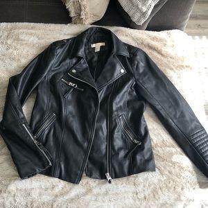 H&M black faux leather moto jacket, size 4